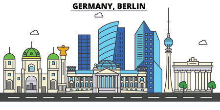 Germany, Berlin. City skyline: architecture, buildings, streets, silhouette, landscape, panorama, landmarks in Editable strokes, Flat design line illustration concept.