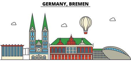 Germany, Bremen. City skyline: architecture, buildings, streets, silhouette, landscape, panorama, landmarks in Editable strokes, Flat design line illustration concept. Stock Vector - 85537234