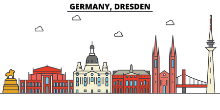 Germany, Dresden. City skyline: architecture, buildings, streets, silhouette, landscape, panorama, landmarks in Editable strokes, Flat design line illustration concept.