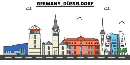 Germany, Dusseldorf. City skyline: architecture, buildings, streets, silhouette, landscape, panorama, landmarks in Editable strokes, Flat design line illustration concept.