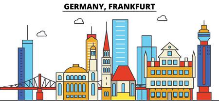 ドイツ、フランクフルト。都市のスカイライン: 建築、建物、通り、シルエット、風景、パノラマ、フラット設計線図編集可能なストロークのランド