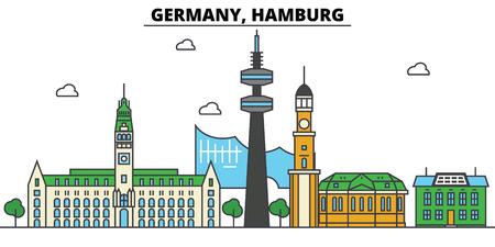 ドイツ, ハンブルク.都市のスカイライン: 建築、建物、通り、シルエット、風景、パノラマ、編集可能なストロークでランドマーク、フラットデザイ