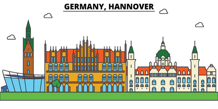 Germany, Hannover. City skyline: architecture, buildings, streets, silhouette, landscape, panorama, landmarks in Editable strokes, Flat design line illustration concept.