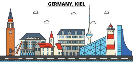 Deutschland, Kiel. Stadtskyline: Architektur, Gebäude, Straßen, Silhouette, Landschaft, Panorama, Wahrzeichen in bearbeitbaren Strichen, flaches Design Linie Illustration Konzept. Vektorgrafik