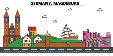 독일, 마그데 부르크. 도시 스카이 라인 : 아키텍처, 건물, 거리, 실루엣, 프리, 파노라마, 편집 가능한 스트로크에 랜드 마크, 평면 디자인 라인 그림 개