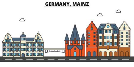 독일, 마인츠. 도시 스카이 라인 : 아키텍처, 건물, 거리, 실루엣, 프리, 파노라마, 편집 가능한 스트로크에 랜드 마크, 평면 디자인 라인 그림 개념.