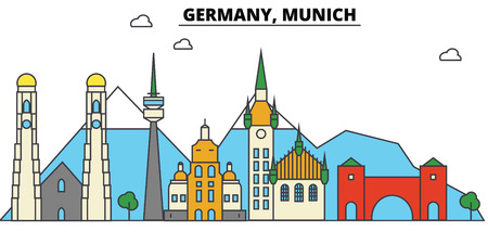 독일, 뮌헨. 도시 스카이 라인 : 아키텍처, 건물, 거리, 실루엣, 프리, 파노라마, 획기적인 획, 평면 디자인 라인 그림 개념에서에서 획기적인.