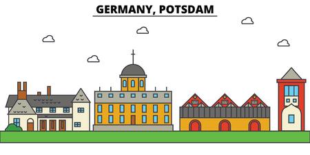 Germany, Potsdam. City skyline: architecture, buildings, streets, silhouette, landscape, panorama, landmarks in Editable strokes, Flat design line illustration concept. 일러스트