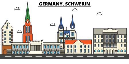독일, 슈 베린. 도시 스카이 라인 : 아키텍처, 건물, 거리, 실루엣, 프리, 파노라마, 랜드 마크. 편집 가능한 스트로크 플랫 디자인 라인 벡터 일러스트  일러스트