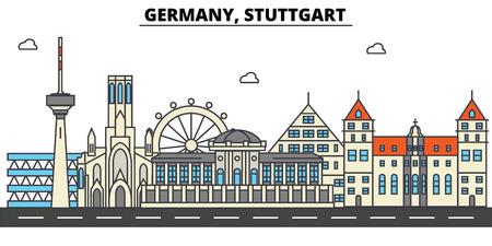 Duitsland, Stuttgart. Skyline van de stad: architectuur, gebouwen, straten, silhouet, landschap, panorama, oriëntatiepunten. Bewerkbare lijnen Platte ontwerp lijn vector illustratie concept. Stock Illustratie