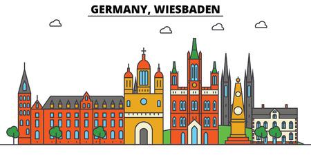 Germany, Wiesbaden. City skyline: architecture, buildings, streets, silhouette, landscape, panorama, landmarks. Editable strokes flat design line vector illustration concept. 일러스트