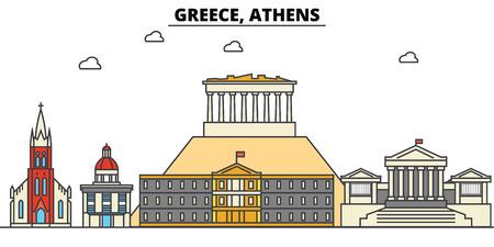 ギリシャ、アテネ市のスカイライン: 建築、建物、通り、シルエット、風景、パノラマ、ランドマーク。編集可能なストロークフラットデザインライ