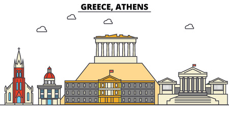 그리스, 아테네 도시의 스카이 라인 : 아키텍처, 건물, 거리, 실루엣, 스케이프, 파노라마, 랜드 마크. 편집 가능한 스트로크 플랫 디자인 라인 벡터 일 일러스트