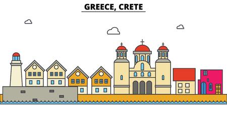 그리스, 크레타의 도시 스카이 라인 : 아키텍처, 건물, 거리, 실루엣, 스케이프, 파노라마, 랜드 마크. 편집 가능한 스트로크 플랫 디자인 라인 벡터 일