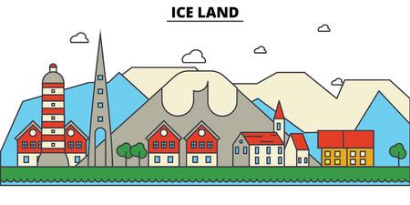 얼음, 육지 도시의 스카이 라인 : 건축물, 건물, 거리, 실루엣, 스케이프, 파노라마, 랜드 마크. 편집 가능한 스트로크 플랫 디자인 라인 벡터 일러스트