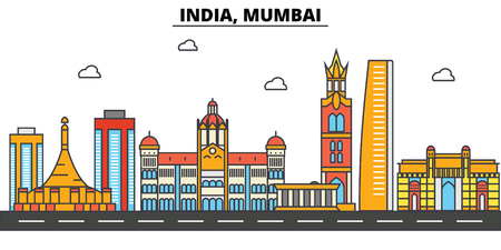 India, Mumbai city skyline: architecture, buildings, streets, silhouette, landscape, panorama, landmarks. Editable strokes flat design line vector illustration concept. Illustration