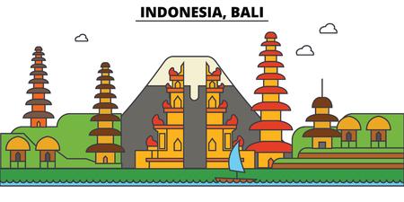 インドネシア、バリ島の街のスカイライン: 建築、建物、通り、シルエット、風景、パノラマ、ランドマーク。編集可能なストローク フラットなデ