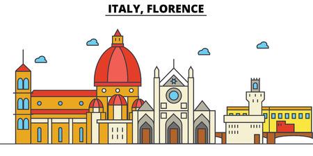 イタリア、フィレンツェの都市のスカイライン: 建築、建物、通り、シルエット、風景、パノラマ、ランドマーク。編集可能ストロークフラットデザ