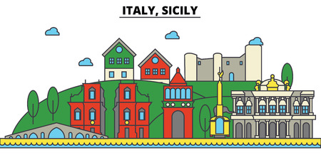 Italy, Sicily city skyline: architecture, buildings, streets, silhouette, landscape, panorama, landmarks. Editable strokes flat design line vector illustration concept.