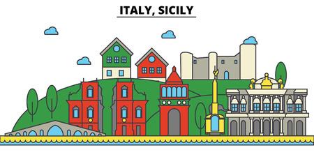 Italy, Sicily city skyline: architecture, buildings, streets, silhouette, landscape, panorama, landmarks. Editable strokes flat design line vector illustration concept.