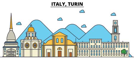 Italy, Turin city skyline: architecture, buildings, streets, silhouette, landscape, panorama, landmarks. Editable strokes flat design line vector illustration concept. Illustration