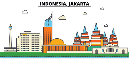 Indonesia, Jakarta city skyline: architecture, buildings, streets, silhouette, landscape, panorama, landmarks. Editable strokes flat design line vector illustration concept.