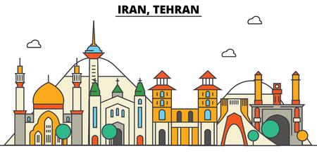 이란, 테헤란 도시의 스카이 라인 : 아키텍처, 건물, 거리, 실루엣, 스케이프, 파노라마, 랜드 마크. 편집 가능한 스트로크 플랫 디자인 라인 벡터 일러