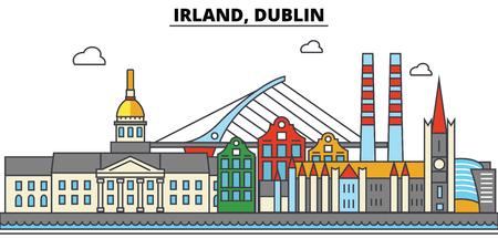 Irland, Dublin city skyline: architecture, buildings, streets, silhouette, landscape, panorama, landmarks. Editable strokes flat design line vector illustration concept. Stock Vector - 85537124