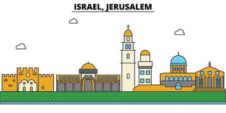 イスラエル、エルサレム市のスカイライン: 建築、建物、通り、シルエット、風景、パノラマ、ランドマーク。編集可能なストロークフラットデザイ