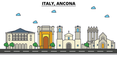 Italy, Ancona city skyline: architecture, buildings, streets, silhouette, landscape, panorama, landmarks. Editable strokes flat design line vector illustration concept. Illustration
