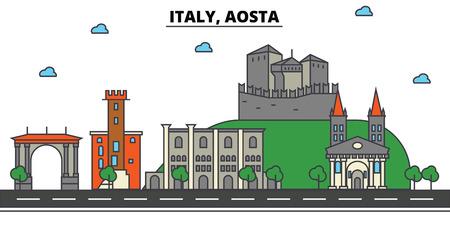 Italy, Aosta City skyline: architecture, buildings, streets, silhouette, landscape, panorama, landmarks. Editable strokes flat design line vector illustration concept