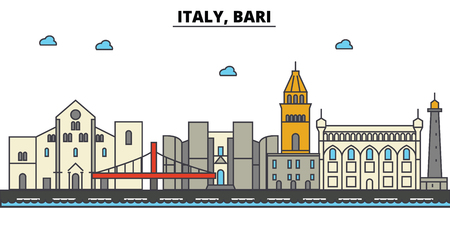Italy, Bari City skyline: architecture, buildings, streets, silhouette, landscape, panorama, landmarks. Editable strokes flat design line vector illustration concept. Stock Vector - 85537253
