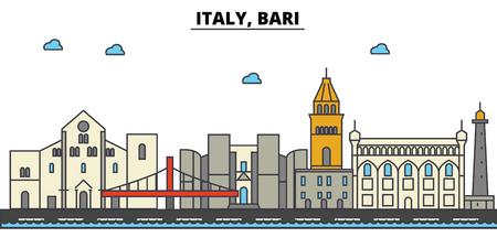 Italy, Bari City skyline: architecture, buildings, streets, silhouette, landscape, panorama, landmarks. Editable strokes flat design line vector illustration concept.