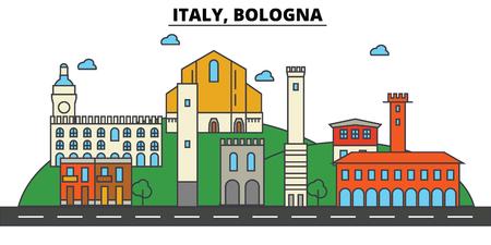 イタリア、ボローニャ都市のスカイライン: 建築、建物、通り、シルエット、風景、パノラマ、ランドマーク。編集可能ストロークフラットデザイン