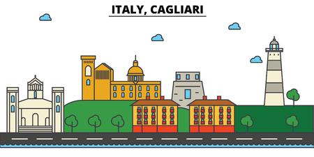 Italy, Cagliari City skyline: architecture, buildings, streets, silhouette, landscape, panorama, landmarks. Editable stroke flat design line vector illustration concept. 일러스트