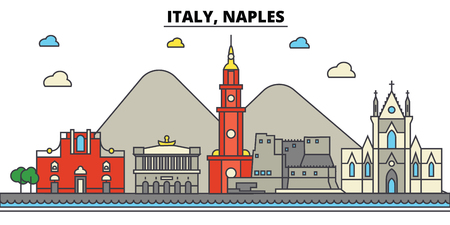 Italy, Naples City skyline: architecture, buildings, streets, silhouette, landscape, panorama, landmarks. Editable strokes flat design line vector illustration concept.