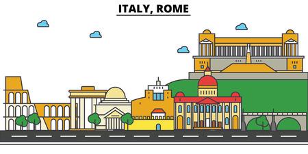 Italy, Rome City skyline: architecture, buildings, streets, silhouette, landscape, panorama, landmarks. Editable strokes flat design line vector illustration concept.