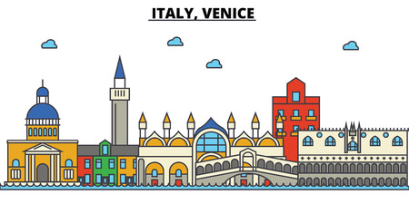 Italy, Venice City skyline: architecture, buildings, streets, silhouette, landscape, panorama, landmarks. Editable strokes flat design line vector illustration concept.