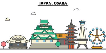 일본, 오사카시 스카이 라인 : 건축물, 건물, 거리, 실루엣, 스케이프, 파노라마, 랜드 마크. 편집 가능한 스트로크 플랫 디자인 라인 벡터 일러스트 레 일러스트