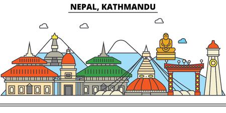ネパール、カトマンズ市のスカイライン: 建築、建物、通り、シルエット、風景、パノラマ、ランドマーク。編集可能なストロークフラットデザイン