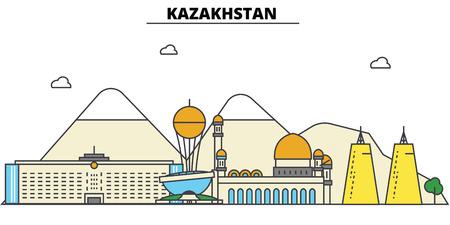 カザフスタンの都市のスカイライン: 建築、建物、通り、シルエット、風景、パノラマ、ランドマーク。編集可能なストロークフラットデザインライ