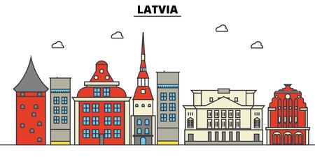 ラトビアの都市のスカイライン: 建築、建物、通り、シルエット、風景、パノラマ、ランドマーク。編集可能なストローク フラットなデザイン ライ