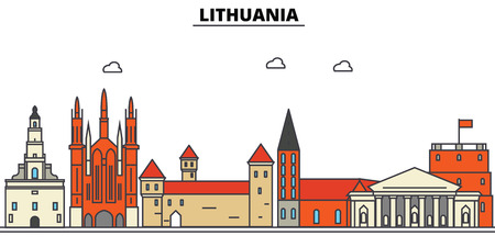 Lithuania City skyline: architecture, buildings, streets, silhouette, landscape, panorama, landmarks. Editable strokes flat design line vector illustration concept.