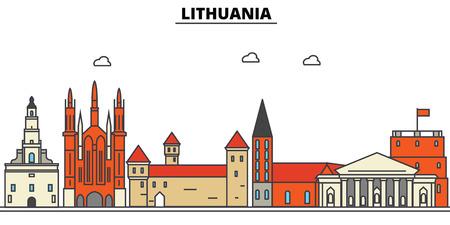 Skyline van Litouwen: architectuur, gebouwen, straten, silhouet, landschap, panorama, oriëntatiepunten. Bewerkbare lijnen platte ontwerp lijn vector illustratie concept.