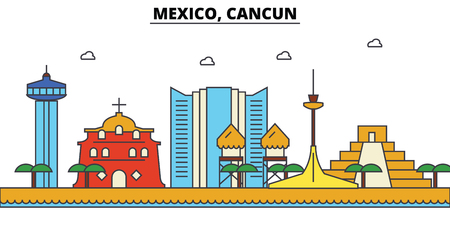 Mexico, Cancun City skyline: architecture, buildings, streets, silhouette, landscape, panorama, landmarks. Editable strokes flat design line vector illustration concept. 向量圖像