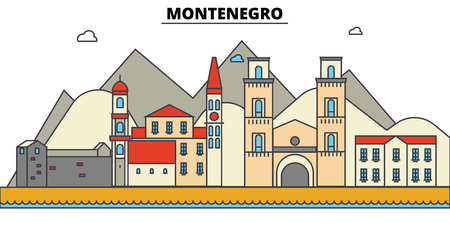 Montenegro City skyline: architecture, buildings, streets, silhouette, landscape, panorama, landmarks. Editable strokes flat design line vector illustration concept