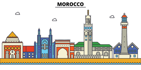 Morocco City skyline: architecture, buildings, streets, silhouette, landscape, panorama, landmarks. Editable strokes flat design line vector illustration concept. Stock Vector - 85537853