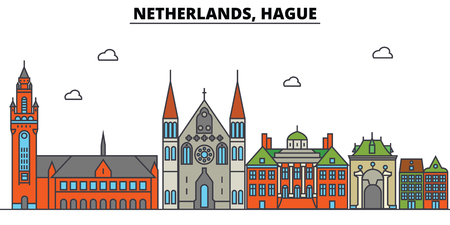 Netherlands, Hague City skyline: architecture, buildings, streets, silhouette, landscape, panorama, landmarks. Editable strokes flat design line vector illustration concept.