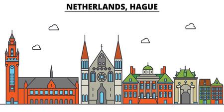 Netherlands, Hague City skyline: architecture, buildings, streets, silhouette, landscape, panorama, landmarks. Editable strokes flat design line vector illustration concept.