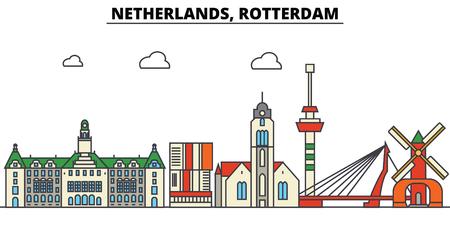 Netherlands, Rotterdam City skyline: architecture, buildings, streets, silhouette, landscape, panorama, landmarks. Editable strokes flat design line vector illustration concept. Stock Illustratie